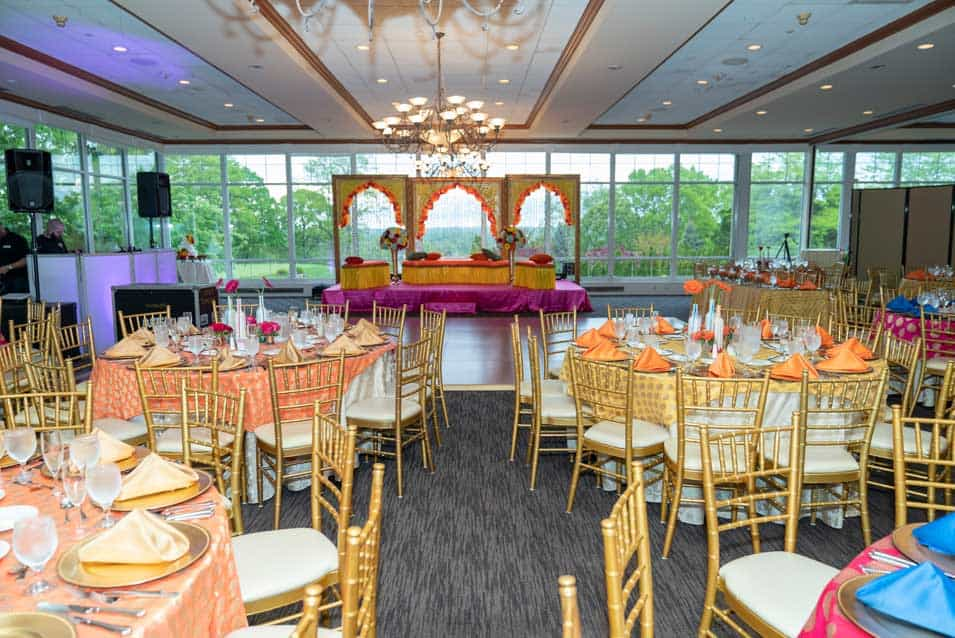 Mehendi and sangeet stage decor at Wind watch golf country club