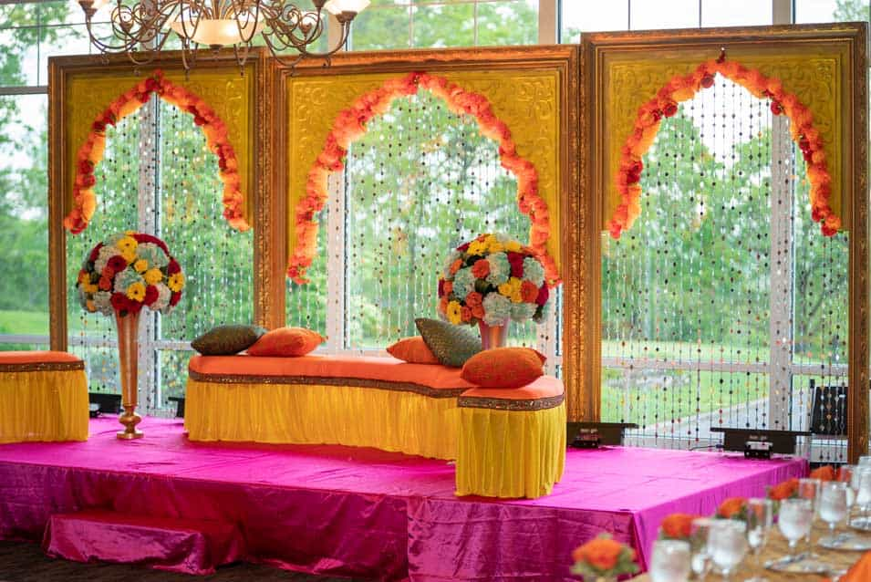Mehendi Sangeet Stage Decor at Wind Watch Golf Country club