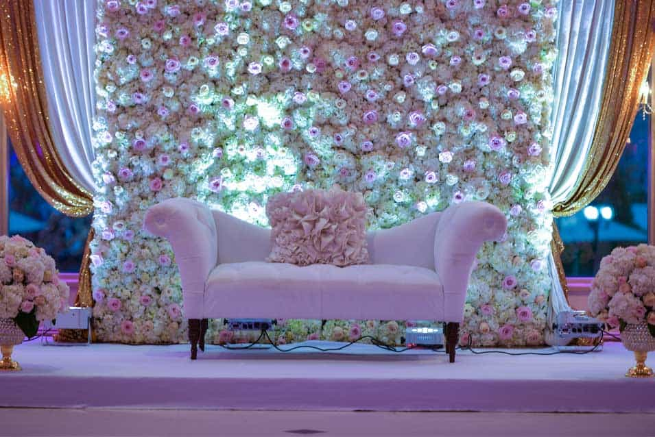 Reception decor flower wall at greentree country club