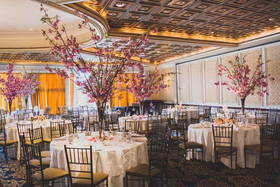 Cherry blossom centerpieces decor at greentree country club