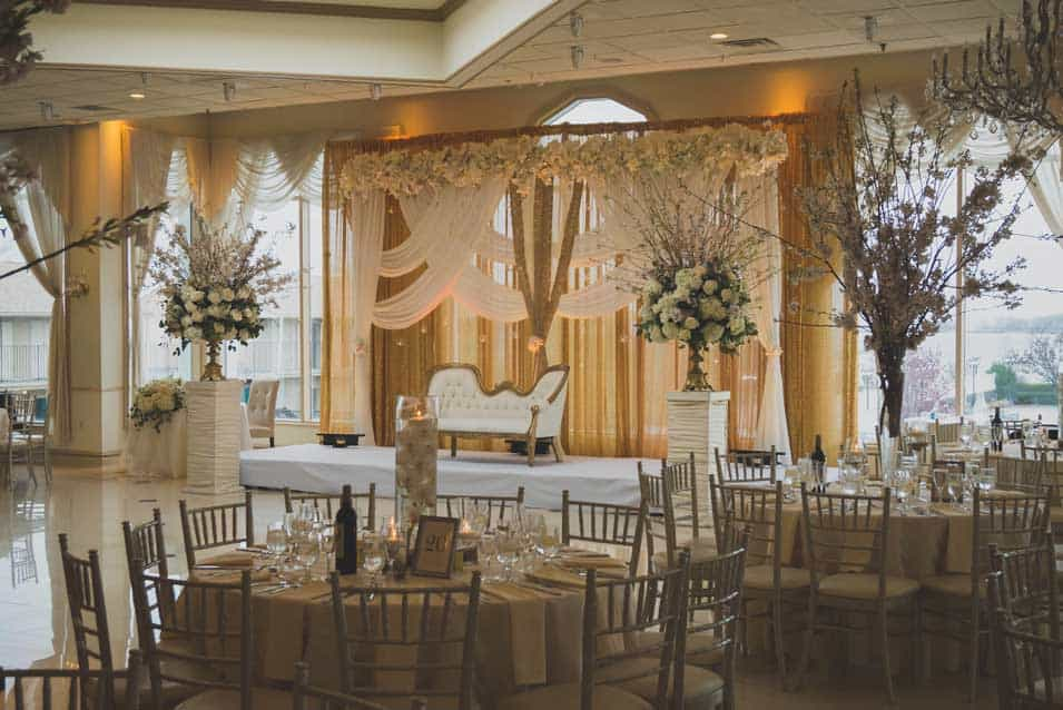 Cherry blossom tree decor at greentree country club