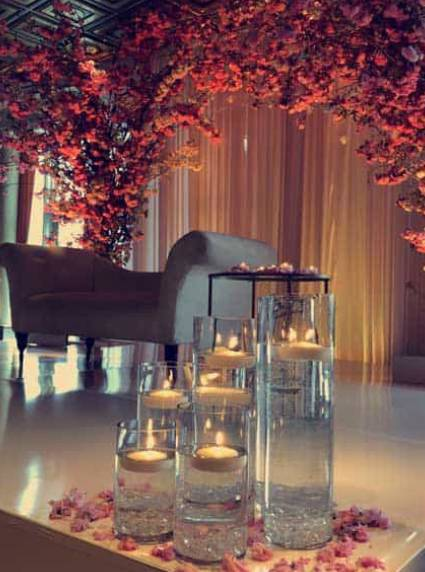cherry blossom tree stage decor at vip country club
