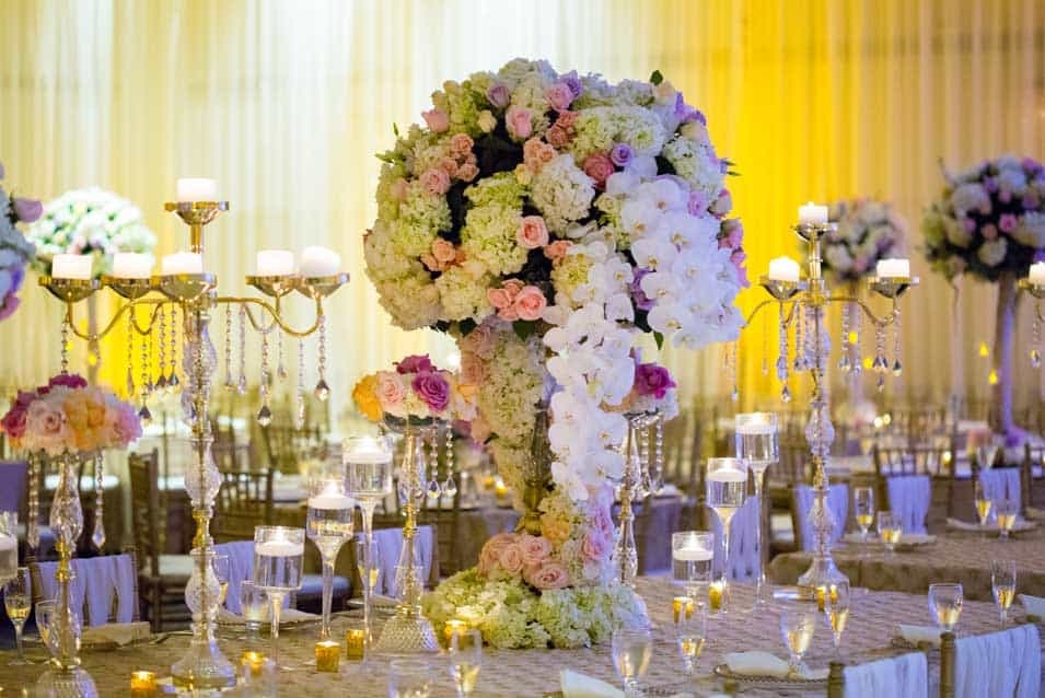 High centerpiece fresh fflowers hilton huntington