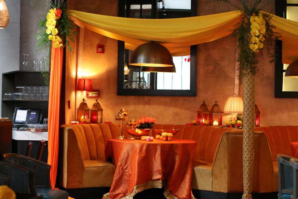 Mehendi sangeet decor at baarbaarnyc restaurant