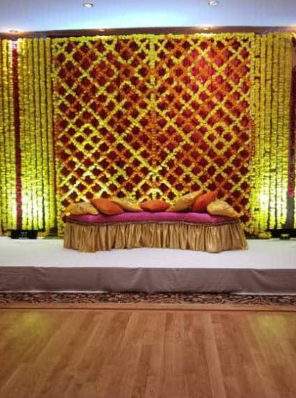 Mehendi sangeet stage decor at akbar restaurant