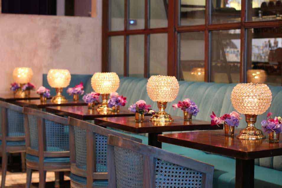 mehendi sangeet stage decor at baarbaarnyc restaurant