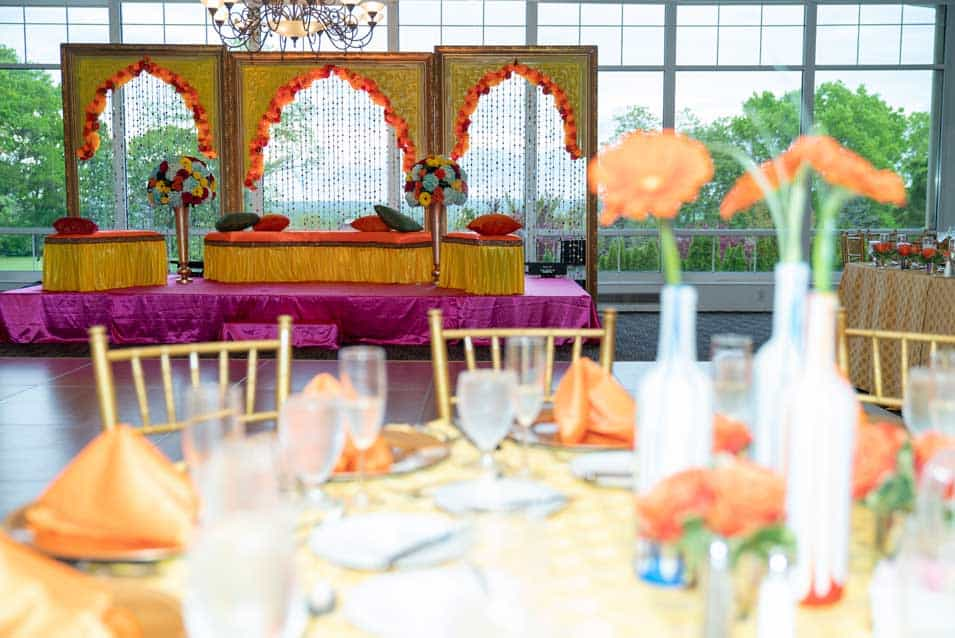 Mehendi sangeet stage decor wind watch golf country club